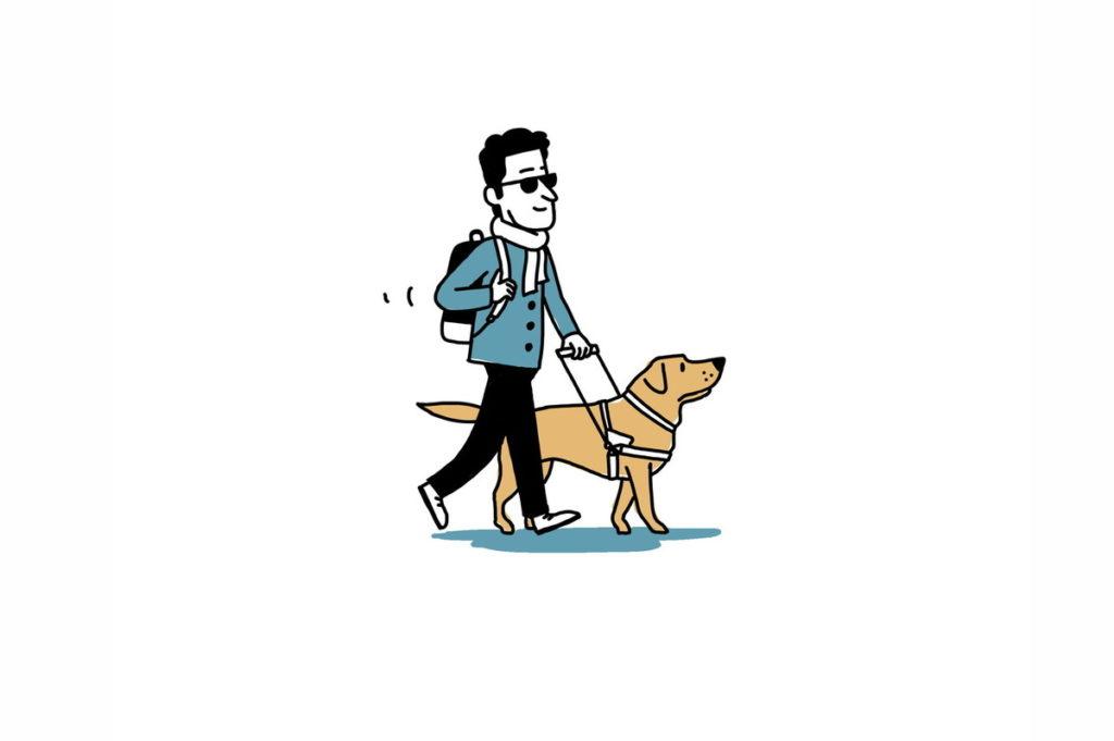 Accueil des aveugles et chiens-guides